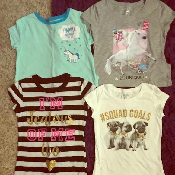9193f7e3e7 Lot of 4 Justice T-shirt's Squad unicorn sparkle